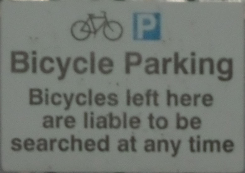 Bicycles will be Searched (Station/Upper Queens Rd)